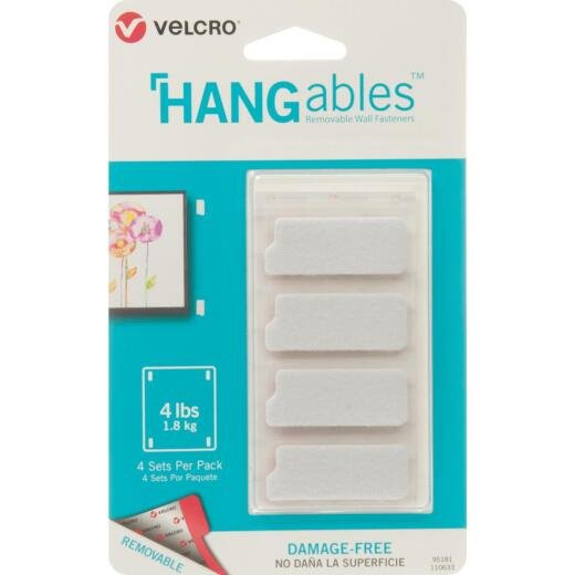 VELCRO Brand Hangables 3/4 In. x 1-3/4 In. White Removable Wall Fastener Strips (4 Ct.)