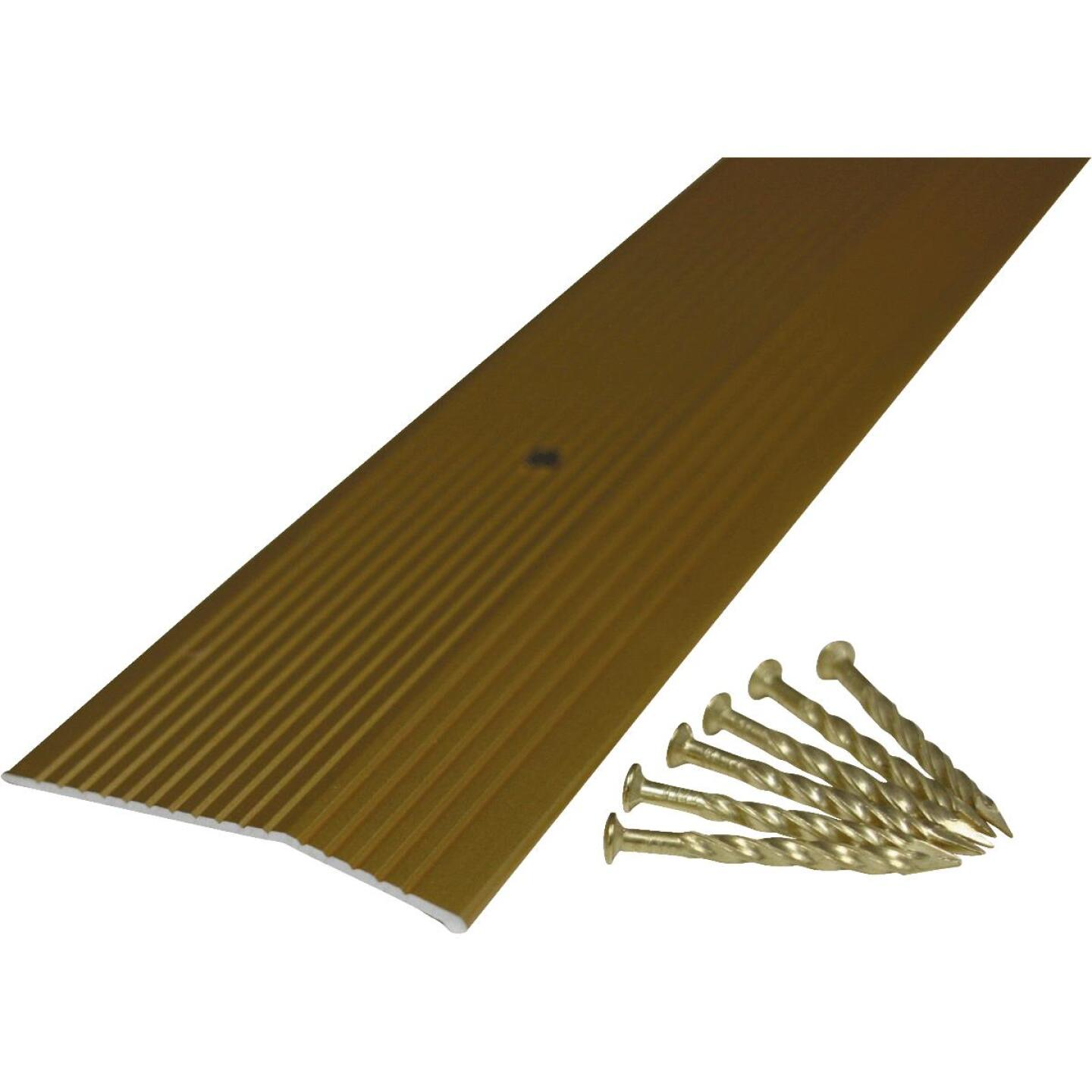 M-D Satin Brass Fluted 2 In. x 3 Ft. Aluminum Carpet Trim Bar, Extra Wide Image 3