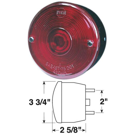 Peterson Round (with License Stud-Mount) 12 V. Red Stop & Tail Light