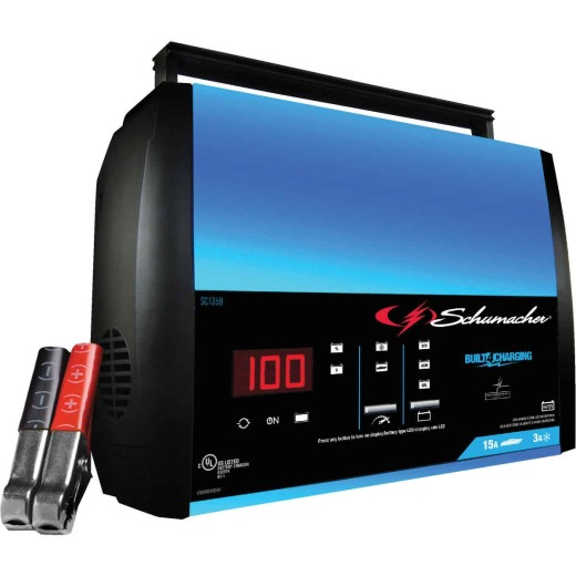 Schumacher Fully Automatic 6V and 12V 15A Auto Battery Charger