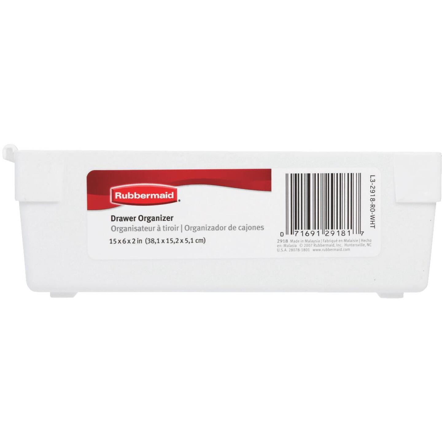 Rubbermaid 6 In. x 15 In. x 2 In. White Drawer Organizer Tray Image 3
