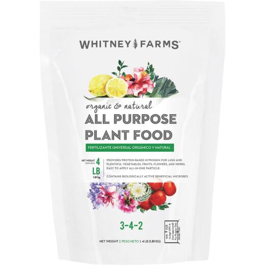 Whitney Farms 4 Lb. 3-4-2 Organic & Natural All-Purpose Dry Plant Food