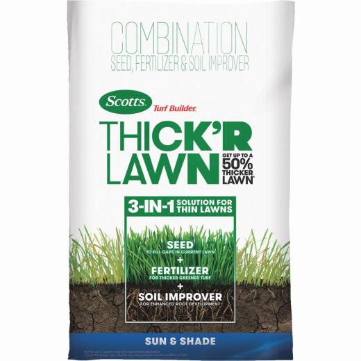 Scotts Turf Builder ThickR Lawn 12 Lb. 1200 Sq. Ft. Coverage Combination Sun & Shade Grass Seed, Fertilizer, & Soil Improver