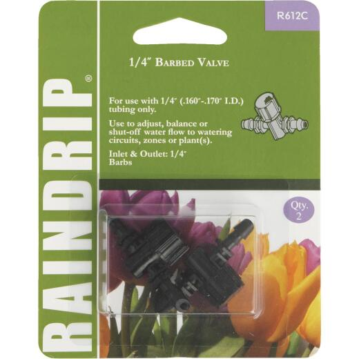 Raindrip 1/4 In. Double-Barbed In-Line Valve (2-Pack)